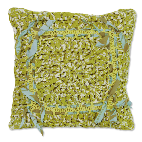 Green Crocheted Cushion Cover