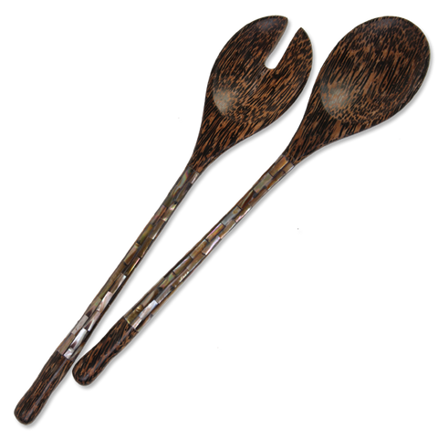 Dark Mother of Pearl & Palm Wood Salad Servers