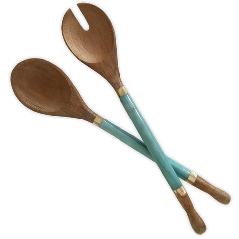 Aqua Capiz Handled Salad Servers