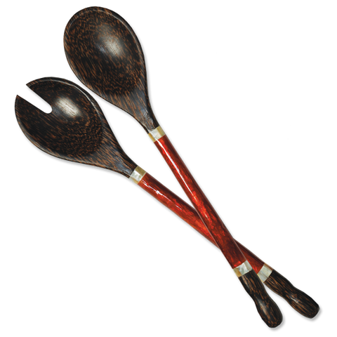 Red Capiz Handled Salad Servers