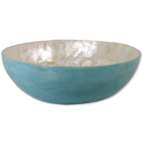 Aqua Capiz Shell Salad Bowl