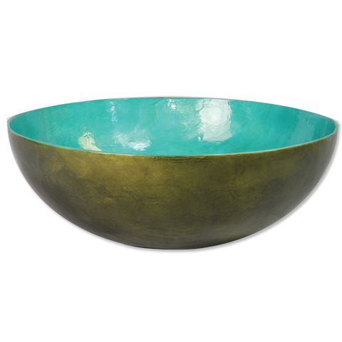 Olive Teal Capiz Shell Salad Bowl