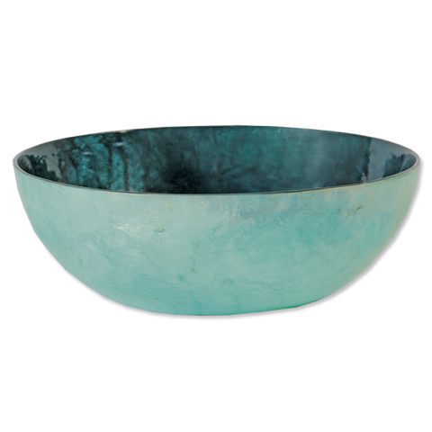 Teal Capiz Shell Salad Bowl