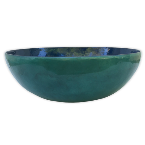 Water Blue Capiz Shell Salad Bowl