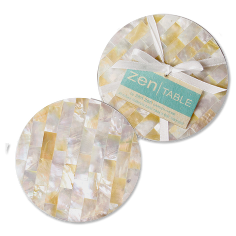 Set of 4 - Natural Mother of Pearl Coasters