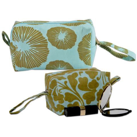 Set of 2 Olive Aqua Cosmetic Cases