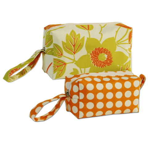 Set of 2 Tangerine Cosmetic Cases