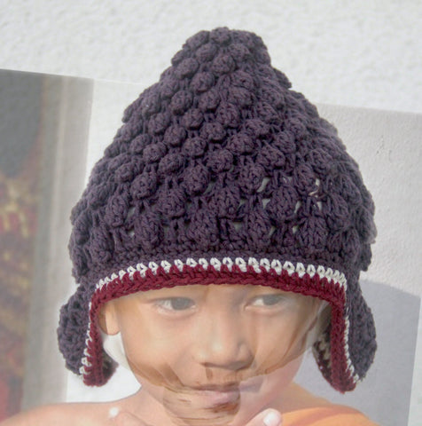 Buddha Beanie Plum - comes lined or not - baby & child