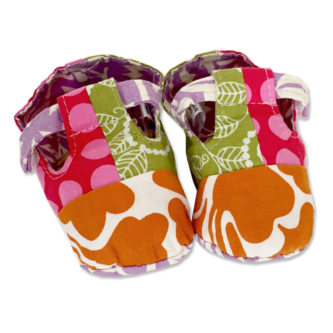 Pink Orange Scrappy Baby Booties - in 2 sizes