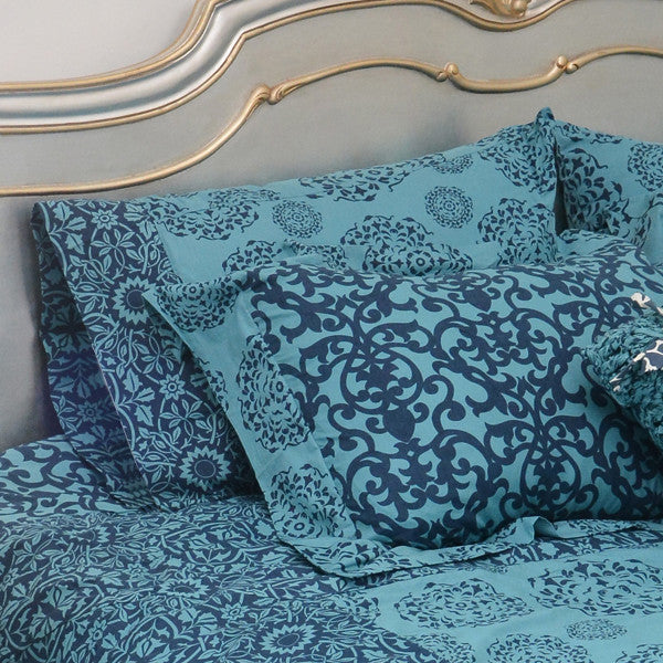 Teal Indigo Pillow Cases in slip or sham style - set of 2