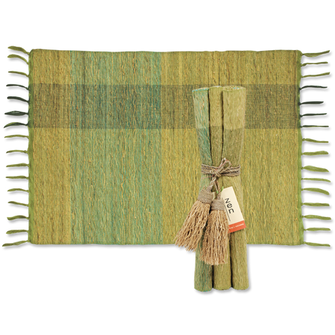 Set of 6 - Green Blocks Vetiver Placemats