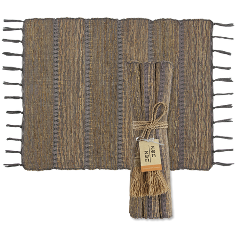 Set of 6 - Stormy Stripes Vetiver Placemats