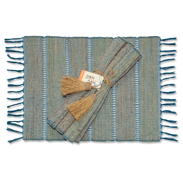 Set of 6 - Indigo Stripes Vetiver Placemats