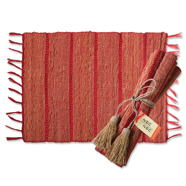 Set of 6 - Persimmon Stripes Vetiver Placemats