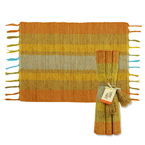 Set of 6 - Stripe Fiesta Vetiver Placemats