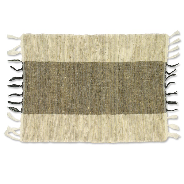 Set of 6 - Black & Natural Vetiver Placemats