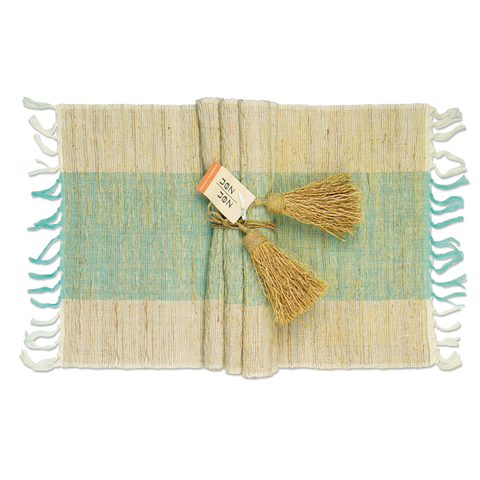 Set of 6 - Turquoise & Natural Vetiver Placemats