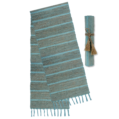 Aqua Stripes Vetiver Runner