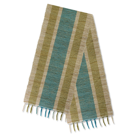 Teal Olive Stripes Vetiver Runner