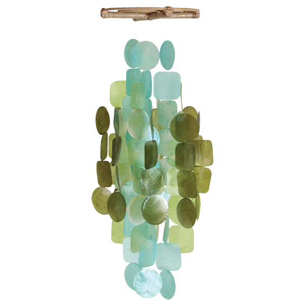 Olive Aqua Medium Capiz Chime