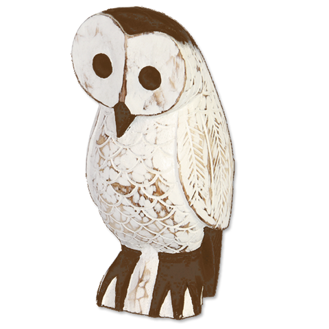 Brown & White Wooden Owl