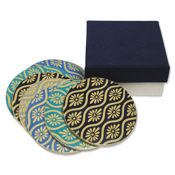 Boxed set of 8 - Batik Wooden Coasters in Blues