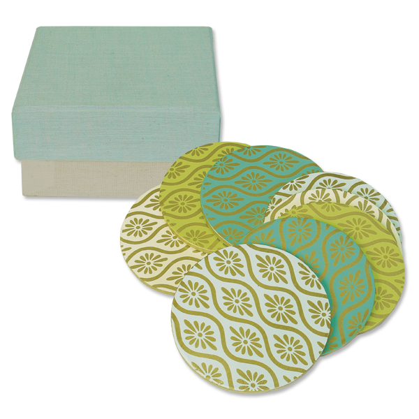 Boxed set of 8 - Batik Wooden Coasters in Cools