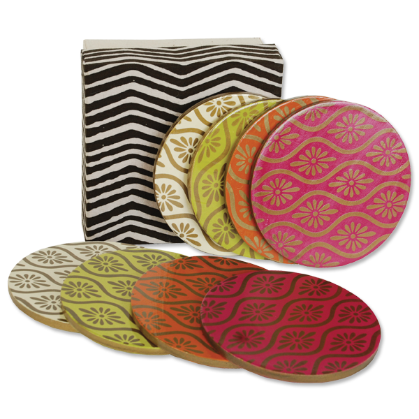 Boxed set of 8 - Batik Wooden Coasters in Brights