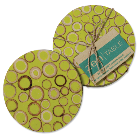 Set of 4 - Lime Bamboo Inlay Coasters