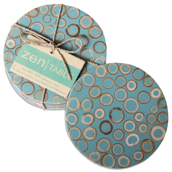 Set of 4 - Teal Bamboo Inlay Coasters