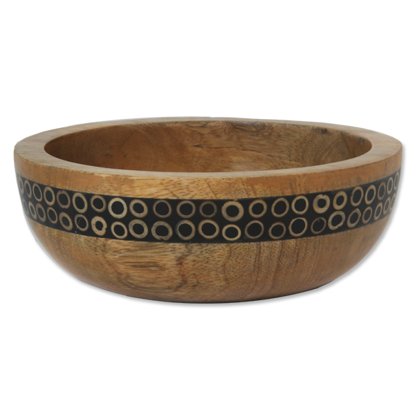Black Bamboo Inlaid Mango Small Salad Bowl