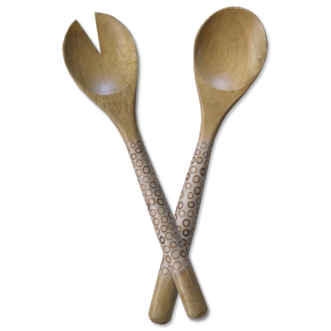 Natural Bamboo Inlaid Mango Salad Servers
