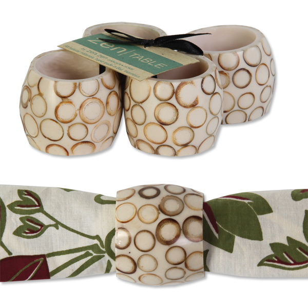 Set of 4 - Natural Bamboo Inlay Napkin Rings