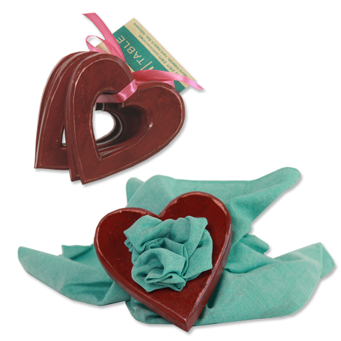 Set of 8 - Red Wine Heart Napkin Rings