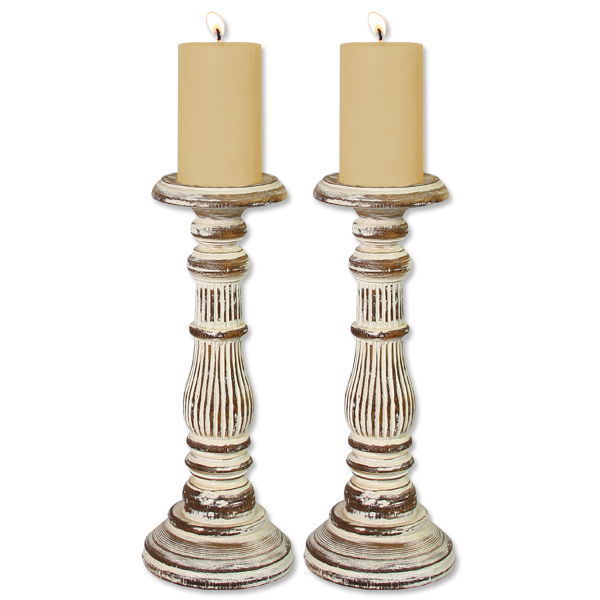 Set of 2 Pillar Candle Holders short