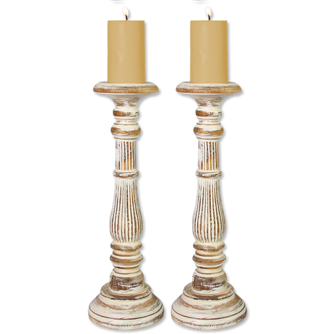 Set of 2 Pillar Candle Holders tall