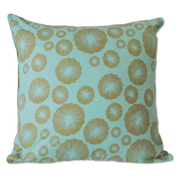 Olive Aqua Seaflower Medium Cushion Cover