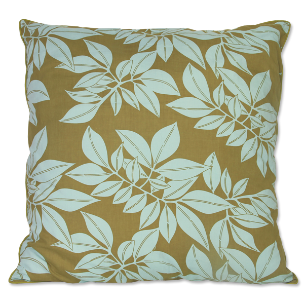 Olive Leaf Aqua Large Cushion Cover