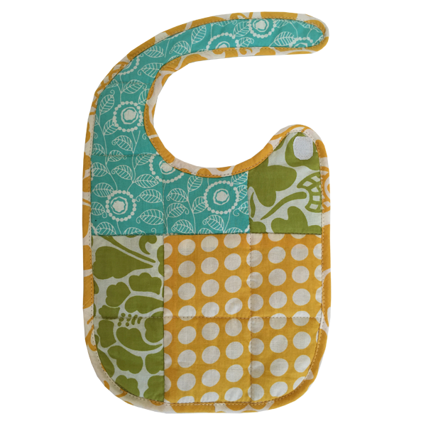 Turquoise Yellow Scrappy Bib - in 2 sizes