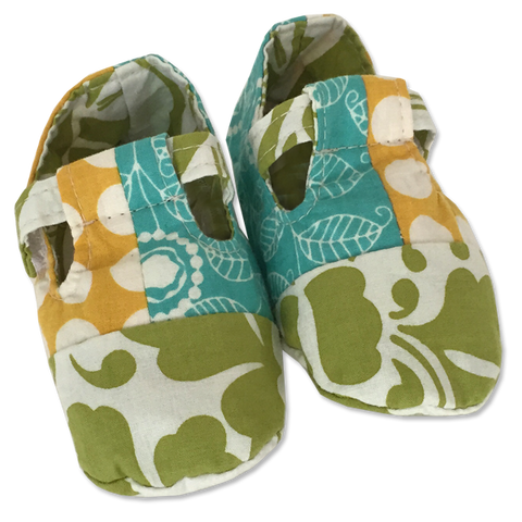 Turquoise Yellow Scrappy Baby Booties - in 2 sizes