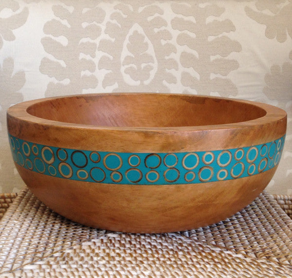 Turquoise Bamboo Inlaid Mango Large Salad Bowl