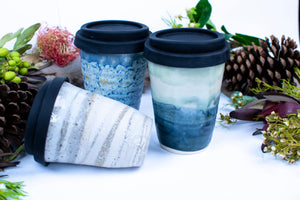 Pottery Mugs 270ml with silicone lids