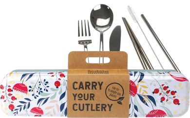 Stainless Steel Cutlery Set for Lunch Box - Floral