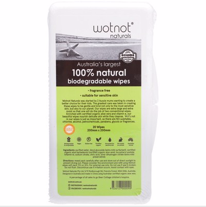 WOTNOT Baby Wipes With Case (100% Biodegradable x 20)