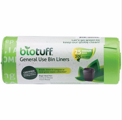BIOTUFF General Use Bin Liners  Medium Bags - 20L x 25