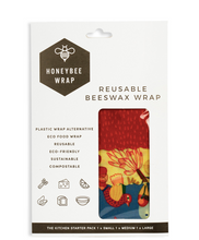 Load image into Gallery viewer, Honeybee 'Beeswax' Wraps - Set of 3