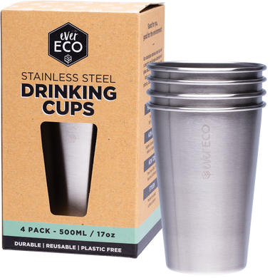 Stainless Steel Drinking Cups - 4 x 500ml