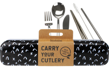 Load image into Gallery viewer, Stainless Steel Cutlery Set for Lunch Box - Black