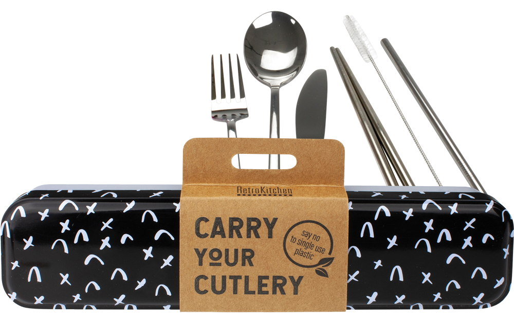 Stainless Steel Cutlery Set for Lunch Box - Black