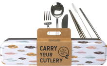Load image into Gallery viewer, Stainless Steel Cutlery Set for Lunch Box - Feathers